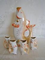 Retro orosz hal alakú porcelán vodkás, pálinkás italos készlet aranyozott festéssel