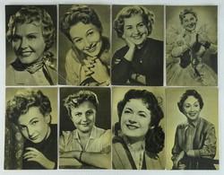 0W188 Fekete-fehér híres színésznők képeslap 8 db