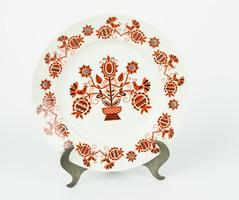Nagyméretű Hollóházi falitányér - retro madaras falvédőmintával - népi paraszti tányér, falidísz