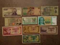 10 db külföldi vegyes bankjegy/id 7725/