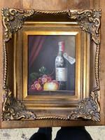 Kicsi olaj festmény bor/csendélet