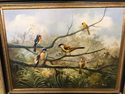 Madaras Elképesztő színvilág hagyatéki szignált festmény