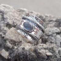 Sterling ezüst forgó gyűrű, labradorit kővel