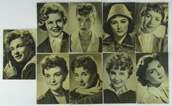 0W187 Fekete-fehér híres színésznők képeslap 9 db