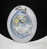Szűz Mária a Kis Jézussal mázas kerámia falidísz