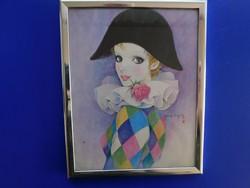 MiraMira Fujita japán művész, festmény, Francia bohóc, kézzel készített mágneses matrica