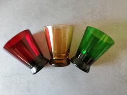 3 db régi színes üvegpohár