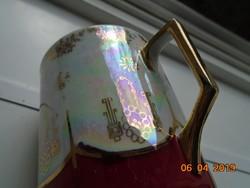 Jugendstil Birodalmi Karlsbadi souvenir csésze,kézzel festett aranymintás,gyöngyház mázas
