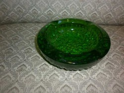 zöld üveg hamutál hamutartó