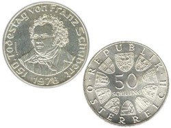 Ezüst 50 Schilling Franz Schubert, Ausztria 1978