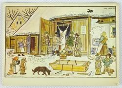 0W192 Josef Lada képeslap hentes disznóvágás