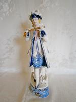Extrém ritka Echt Kobalt jelzett porcelán figura barokk férfi aranyozott festéssel 29 cm magas
