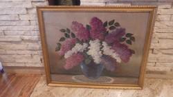Orgona virágcsendélet festnény 63x76 cm