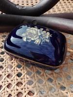Hollóházi doboz,bonbonier ritka kék színnel