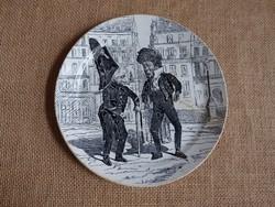 Creil&Montereau XIX. századi fajansz tányér (assiette parlante) - repedt