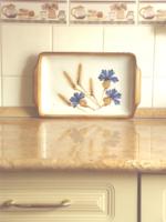 Schramberg - búzavirág mintás rusztikus kerámia tálca