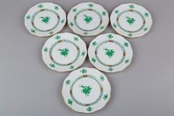6db Herendi zöld Apponyi mintás süteményes tányér