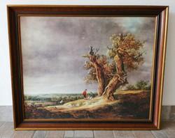 Igényes vászonnyomat, fa keretben 70 x 55 cm