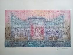 Gross Arnold: A művészet dícsérete, színezett rézkarc
