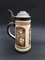 Antik majolika söröskorsó - Sitzendorf fajansz krigli