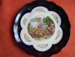 Régi jelenetes kobaltkék porcelán tányér