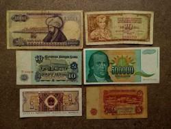 6 db külföldi vegyes bankjegy (id7746)