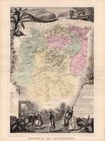 Kaszentína tartomány térkép 1880, francia, atlasz, eredeti, 34 x 47 cm, gyarmat, Afrika, észak