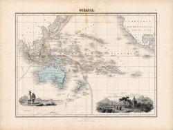 Óceánia térkép 1880, francia, atlasz, eredeti, 34 x 47 cm, Ausztrália, Új-Zéland, Új-Guinea, Tahiti