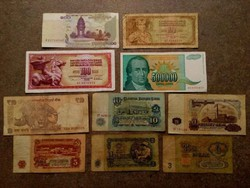 10 db külföldi vegyes bankjegy (id7740)
