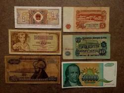 6 db külföldi vegyes bankjegy (id7747)