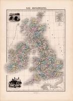 Brit szigetek térkép 1880 (2), francia, atlasz, eredeti, 34 x 47 cm, Anglia, Írország, Wales, Skócia
