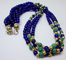 Csodás antik 3 soros zafírkék,smaragdzöld köves nyaklánc
