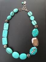 Ezüst nyaklánc,nyakék türkiz kövekkel (Silpada)