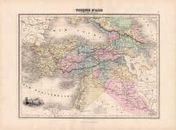Törökország (Ázsia) térkép 1880, francia, atlasz, eredeti, 34 x 47 cm, régi