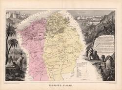 Orán tartomány térkép 1880, francia, atlasz, eredeti, 34 x 47 cm, gyarmat, Afrika, észak, régi, arab