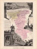 Algír tartomány térkép 1880, francia, atlasz, eredeti, 34 x 47 cm, gyarmat, Afrika, észak, Algéria