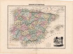 Spanyolország és Portugália térkép 1880, francia, atlasz, eredeti, 34 x 47 cm, Európa, dél, régi