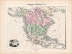 Észak és Közép - Amerika térkép 1880, francia, atlasz, eredeti, 34 x 47 cm, Egyesült Államok, régi