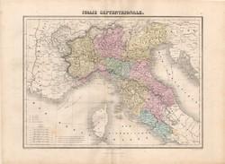 Észak - Olaszország térkép 1880, francia, atlasz, eredeti, 34 x 47 cm, Európa, régi, Itália, megye