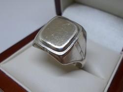 Szép régi magyar ezüst gravírozható pecsét gyűrű