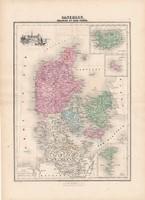 Dánia térkép 1880, francia, atlasz, eredeti, 34 x 47 cm, Európa, észak, Izland, Feröer - szigetek