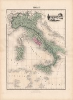 Olaszország térkép 1880, francia, atlasz, eredeti, 34 x 47 cm, Európa, dél, régi, Itália