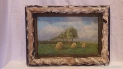 Wertheimer antik olaj-vászon festmény szénaboglyák