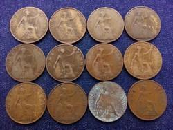 Anglia - V. György One Penny 12 db évszám gyűjtemény/id 7754/