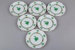 6db Herendi zöld Apponyi mintás kicsi süteményes tányér