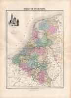 Hollandia és Belgium térkép 1880, francia, atlasz, eredeti, 34 x 47 cm, Európa, régi, észak