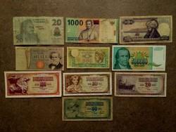 10 db külföldi vegyes bankjegy (id7726)