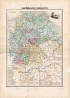 Német szövetség térkép 1880, francia, atlasz, eredeti, 34 x 47 cm, Európa, régi, Németország