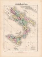 Dél - Olaszország térkép 1880, francia, atlasz, eredeti, 34 x 47 cm, Európa, régi, Itália, megye
