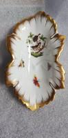 Herendi Szőlőlevél mintájú gyűrűtartó tálka, ritka, Rotschild mintázatú